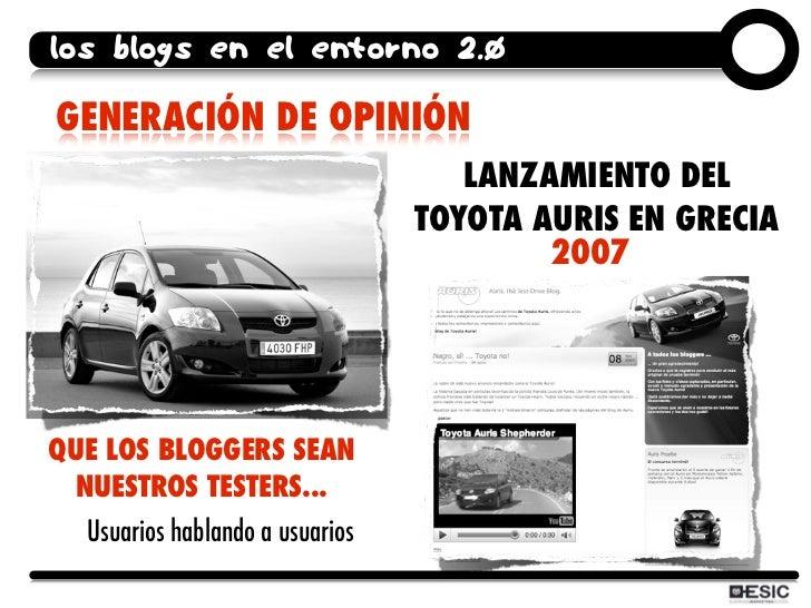 los blogs en el entorno 2.0  GENERACIÓN DE OPINIÓN                                     LANZAMIENTO DEL                    ...