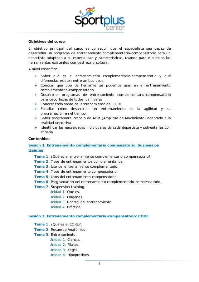 Curso de Experto en Entrenamiento Complementario Compensatorio Slide 2