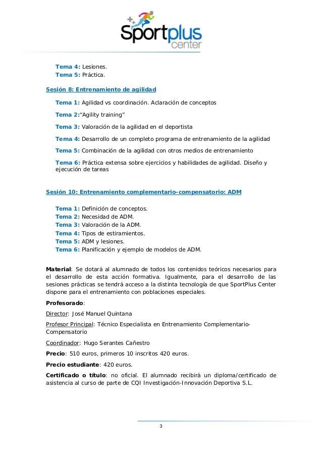 Curso de Experto en Entrenamiento Complementario Compensatorio Slide 3