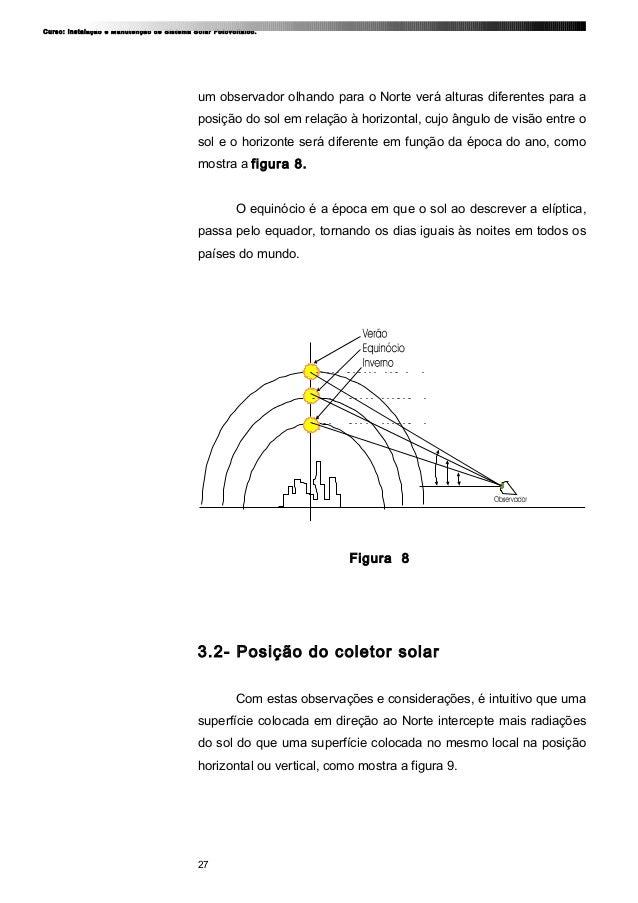 Curso: Instalação e Manutenção de Sistema Solar Fotovoltaico. um observador olhando para o Norte verá alturas diferentes p...