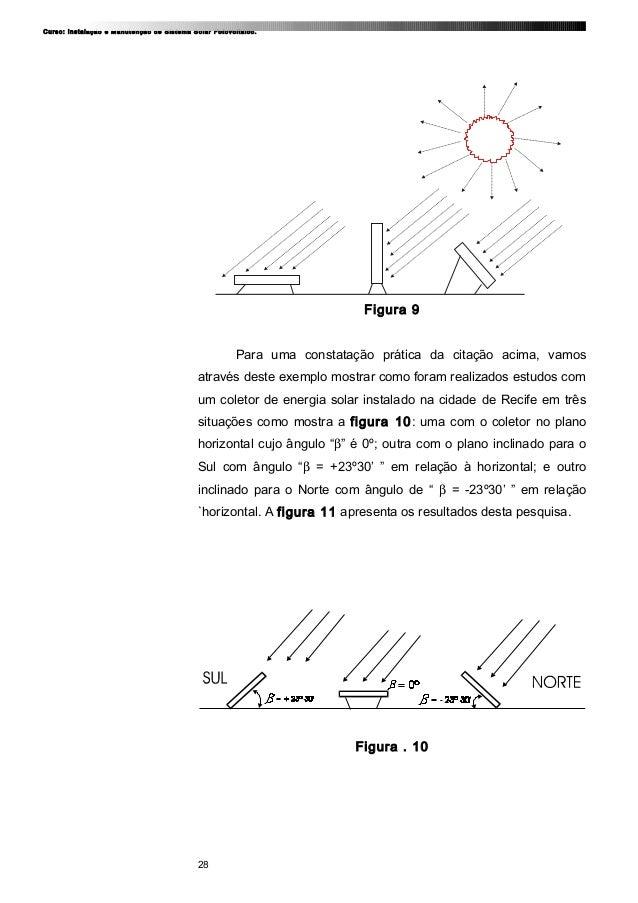 Curso: Instalação e Manutenção de Sistema Solar Fotovoltaico. Figura 9 Para uma constatação prática da citação acima, vamo...