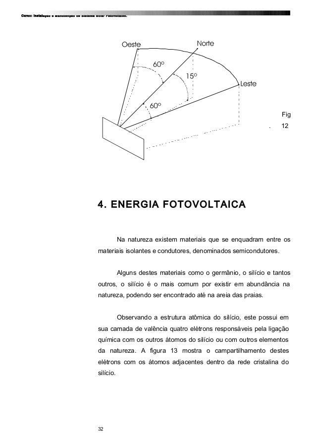 Curso: Instalação e Manutenção de Sistema Solar Fotovoltaico. Fig . 12 4. ENERGIA FOTOVOLTAICA Na natureza existem materia...