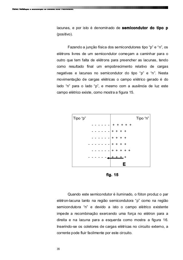 Curso: Instalação e Manutenção de Sistema Solar Fotovoltaico. lacunas, e por isto é denominado de semicondutor do tipo p (...