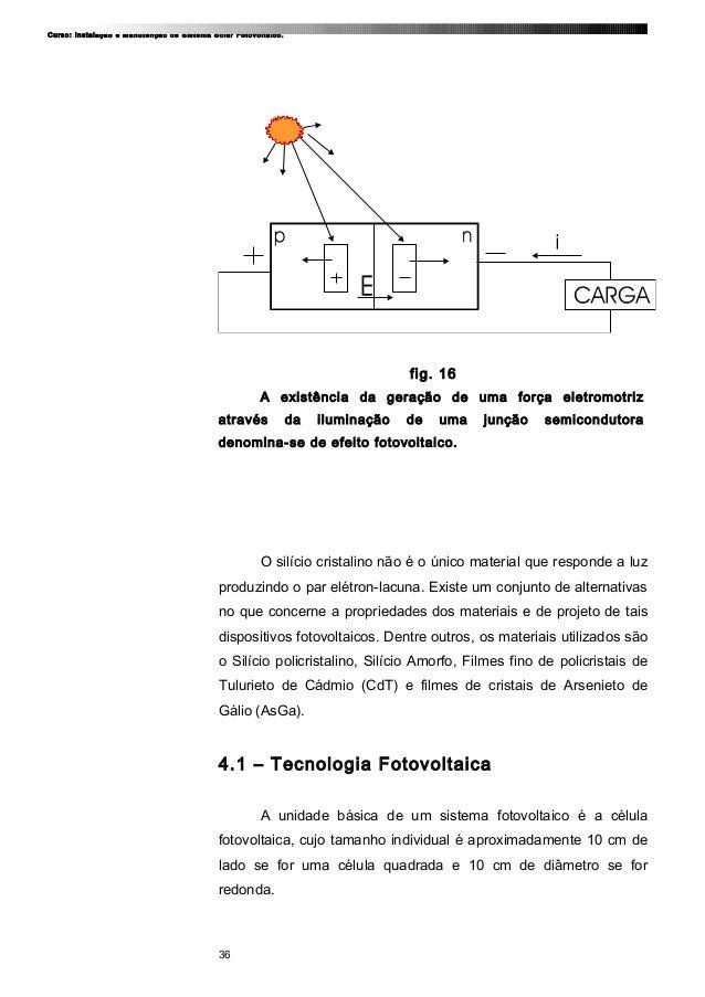 Curso: Instalação e Manutenção de Sistema Solar Fotovoltaico. fig. 16 A existência da geração de uma força eletromotriz at...