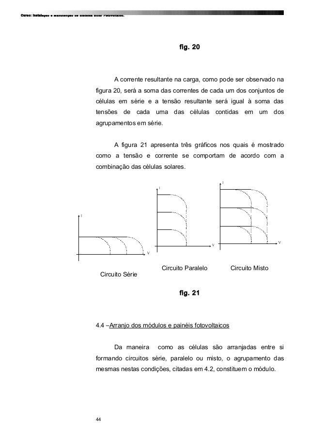 Curso: Instalação e Manutenção de Sistema Solar Fotovoltaico. fig. 20 A corrente resultante na carga, como pode ser observ...