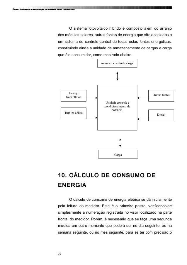 Curso: Instalação e Manutenção de Sistema Solar Fotovoltaico. O sistema fotovoltaico híbrido é composto além do arranjo do...