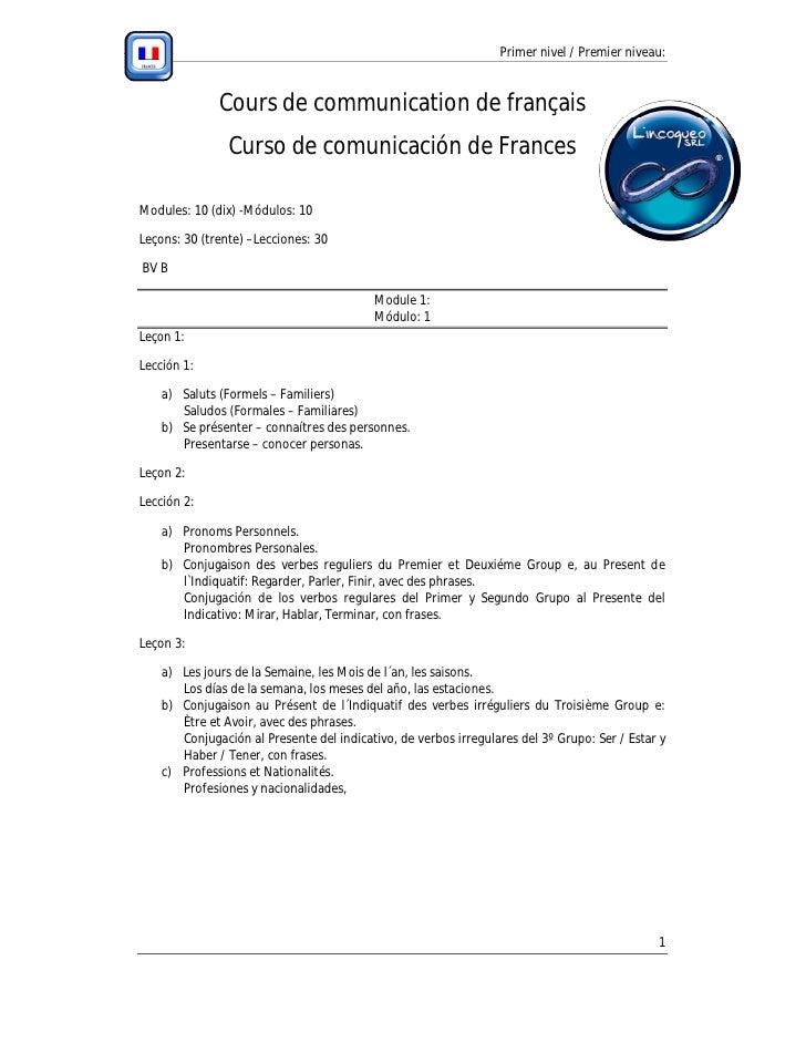 Primer nivel / Premier niveau:                  Cours de communication de français                 Curso de comunicación d...