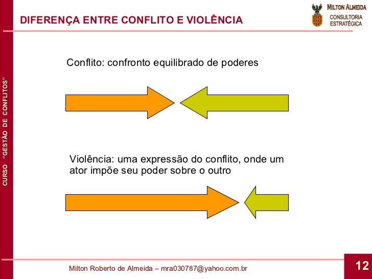DIFERENÇA ENTRE CONFLITO E VIOLÊNCIA Conflito: confronto equilibrado de poderes Violência: uma expressão do conflito, onde...