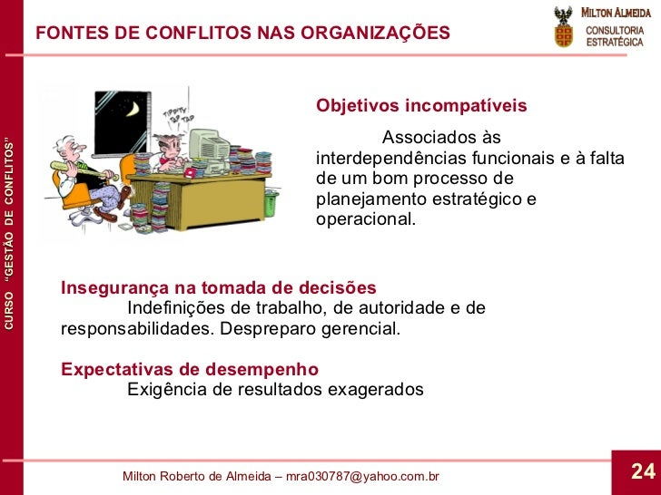 FONTES DE CONFLITOS NAS ORGANIZAÇÕES Objetivos incompatíveis Associados às interdependências funcionais e à falta de um bo...
