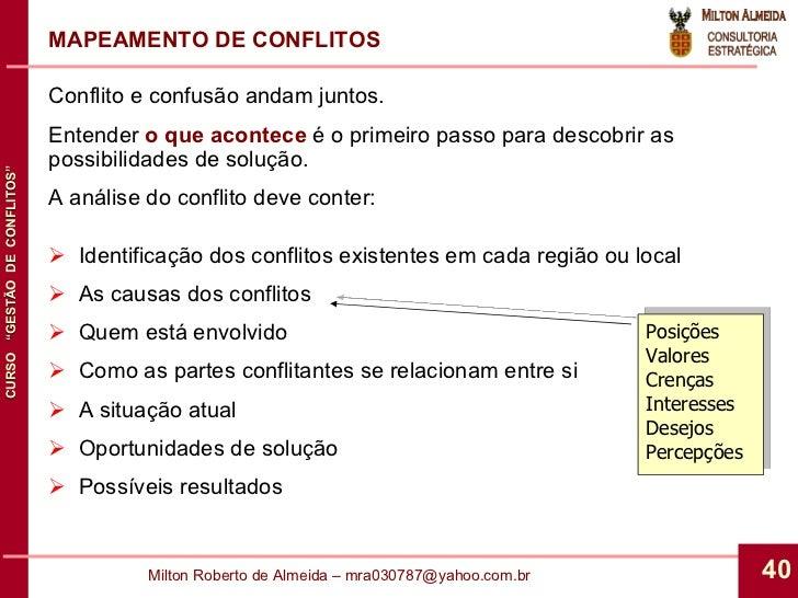 <ul><li>Conflito e confusão andam juntos. </li></ul><ul><li>Entender  o que acontece  é o primeiro passo para descobrir as...
