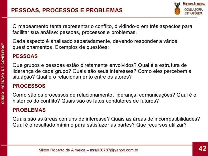 PESSOAS, PROCESSOS E PROBLEMAS O mapeamento tenta representar o conflito, dividindo-o em três aspectos para facilitar sua ...