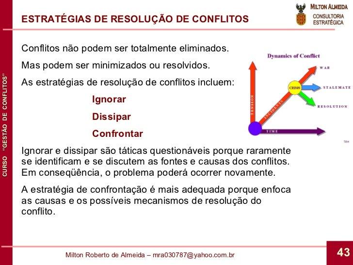 Conflitos não podem ser totalmente eliminados. Mas podem ser minimizados ou resolvidos. As estratégias de resolução de con...