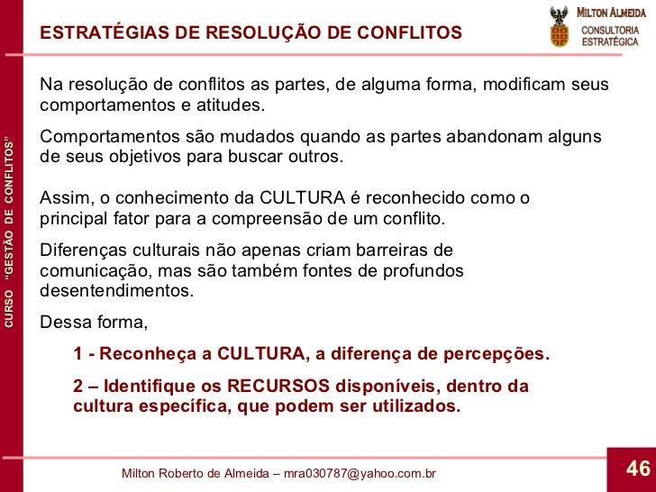 ESTRATÉGIAS DE RESOLUÇÃO DE CONFLITOS Na resolução de conflitos as partes, de alguma forma, modificam seus comportamentos ...