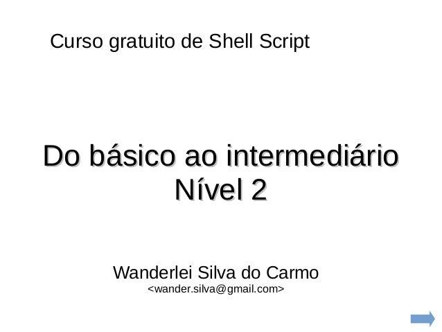 Curso gratuito de Shell Script Wanderlei Silva do Carmo <wander.silva@gmail.com> Do básico ao intermediárioDo básico ao in...