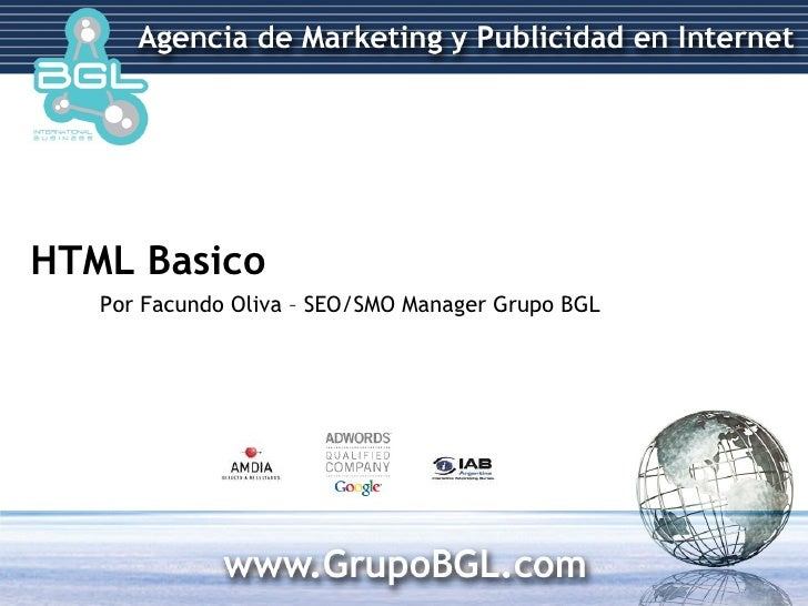 HTML Basico Por Facundo Oliva – SEO/SMO Manager Grupo BGL