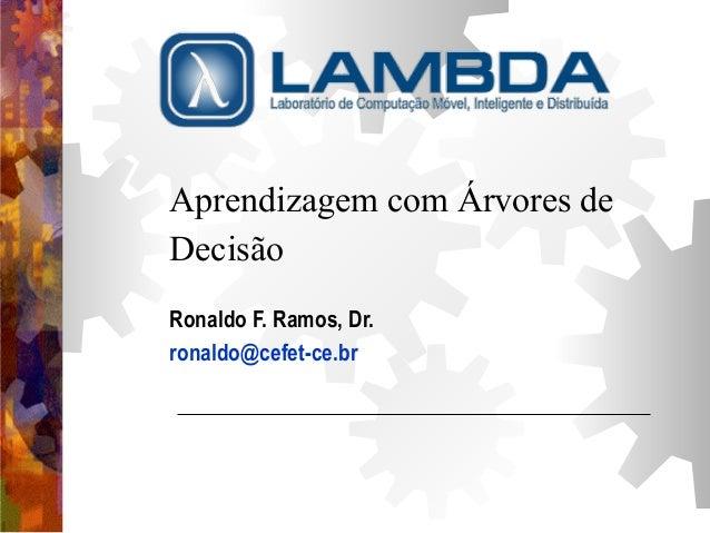 Aprendizagem com Árvores de  Decisão  Ronaldo F. Ramos, Dr.  ronaldo@cefet-ce.br