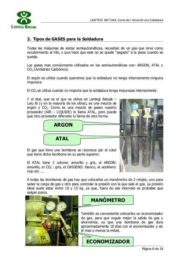 LANTEGI BATUAK, Curso de Iniciación a la Soldadura Página 6 de 14 ECONOMIZADOR 2. Tipos de GASES para la Soldadura Todas l...