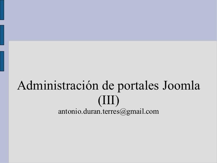 Administración de portales Joomla (III) [email_address]