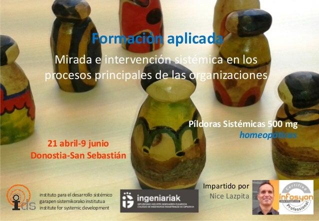 Formación aplicada Mirada e intervención sistémica en los procesos principales de las organizaciones 21 abril-9 junio Dono...