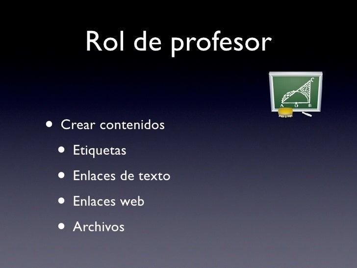 Rol de profesor  • Crear contenidos  • Etiquetas  • Enlaces de texto  • Enlaces web  • Archivos