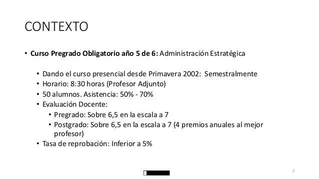 CONTEXTO  •Curso Pregrado Obligatorio año 5 de 6: Administración Estratégica  •Dando el curso presencial desde Primavera 2...