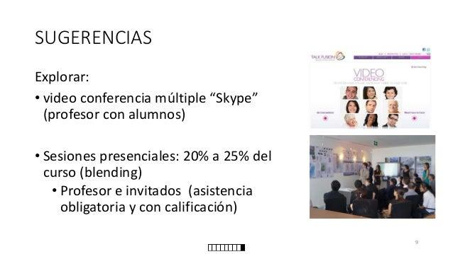 """SUGERENCIAS  Explorar:  •video conferencia múltiple """"Skype"""" (profesor con alumnos)  •Sesiones presenciales: 20% a 25% del ..."""