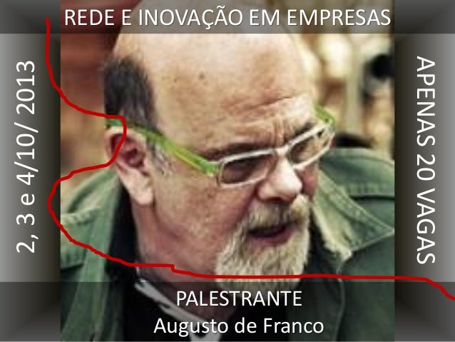 REDE E INOVAÇÃO EM EMPRESAS PALESTRANTE Augusto de Franco 2,3e4/10/2013 APENAS20VAGAS