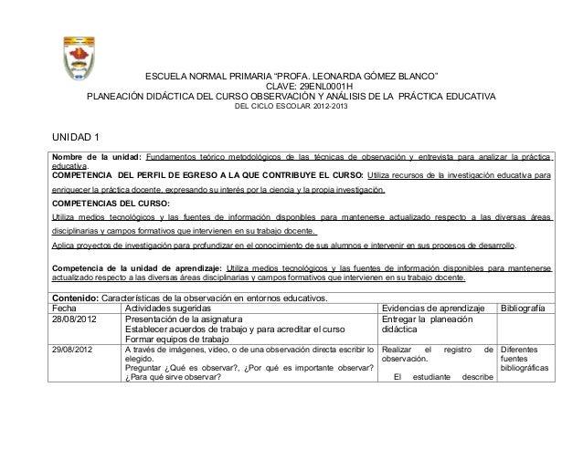 """ESCUELA NORMAL PRIMARIA """"PROFA. LEONARDA GÓMEZ BLANCO""""                                          CLAVE: 29ENL0001H         ..."""
