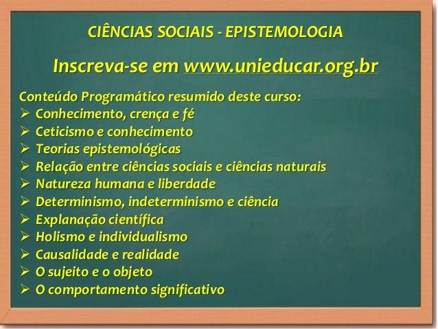 Curso online ciencias sociais   epistemologia Slide 3
