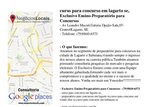 curso para concurso em lagarto se, Exclusivo Ensino-Preparatório para Concursos - Av Leandro Maciel,Galeria Opção-Sala,07-...