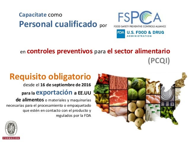 FSPCA Curso de Formacin Oficial PCQI Preventive Controls Qualified