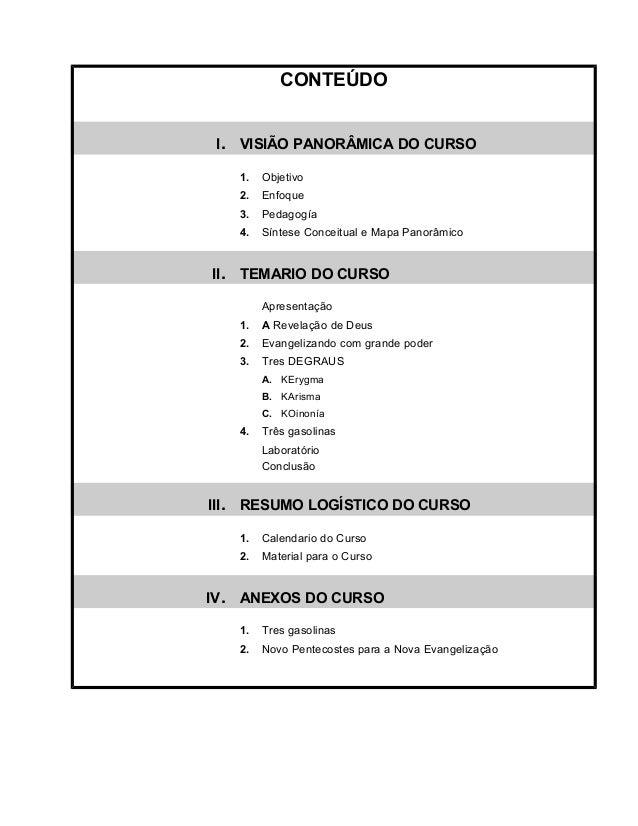 CONTEÚDO  I. VISIÃO PANORÂMICA DO CURSO  1. Objetivo  2. Enfoque  3. Pedagogía  4. Síntese Conceitual e Mapa Panorâmico  I...