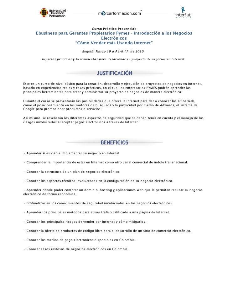Curso Práctico Presencial:        Ebusiness para Gerentes Propietarios Pymes - Introducción a los Negocios                ...