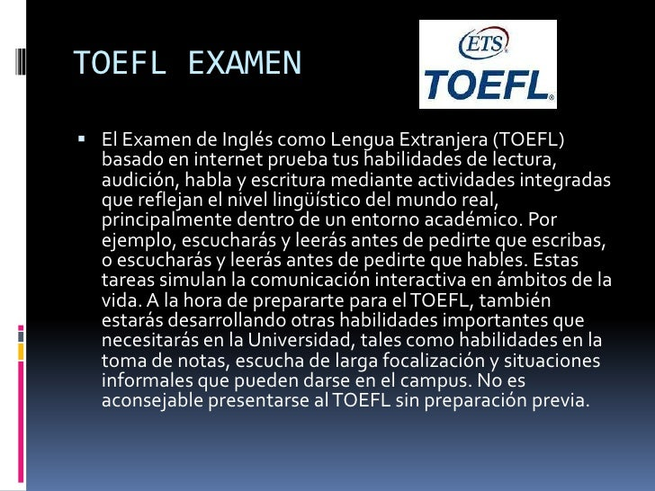 TOEFL CURSO DE PREPARACIÓN<br />El Alumno recibirá dos clases semanales, de 2,5 horas de duración cada una, donde podrá i...
