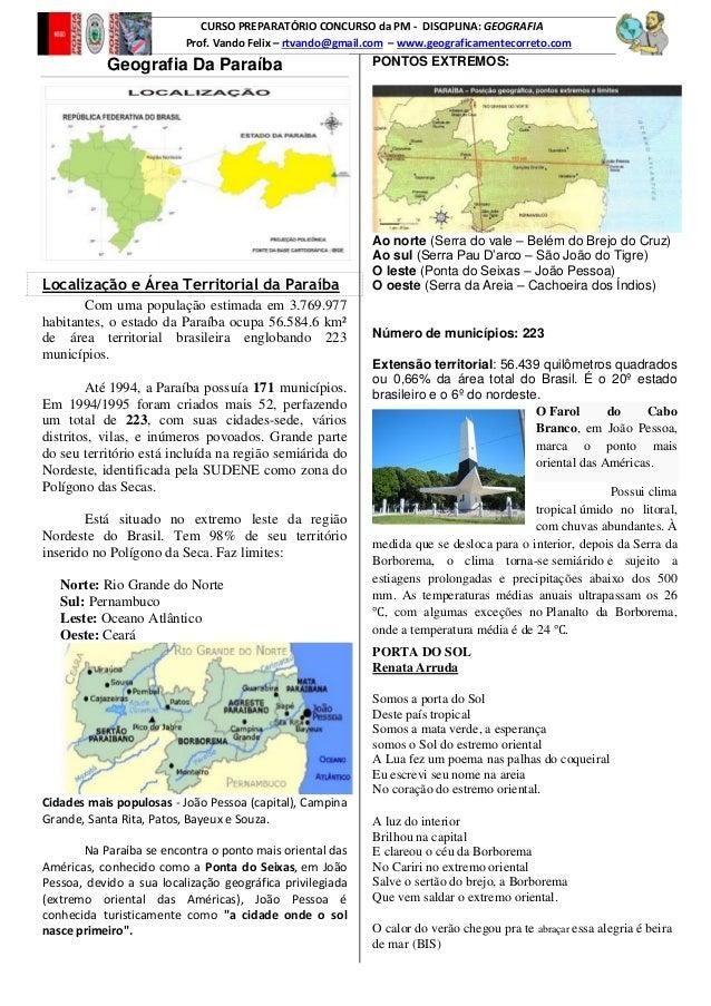 CURSO PREPARATÓRIO CONCURSO da PM - DISCIPLINA: GEOGRAFIA Prof. Vando Felix – rtvando@gmail.com – www.geograficamentecorre...