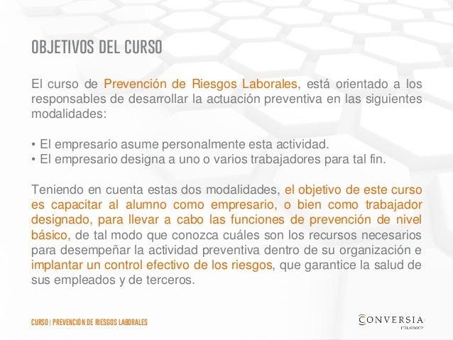 Curso de Formación Conversia - Prevención de Riesgos Laborales Slide 3