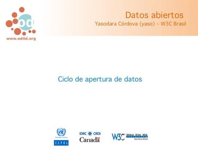 Datos abiertos           Yasodara Córdova (yaso) – W3C BrasilCiclo de apertura de datos