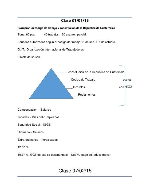 Clase 31/01/15 (Comprar un codigo de trabajo y constitucion de la Republica de Guatemala) Zona: 60 pts. 40 trabajos 20 exa...