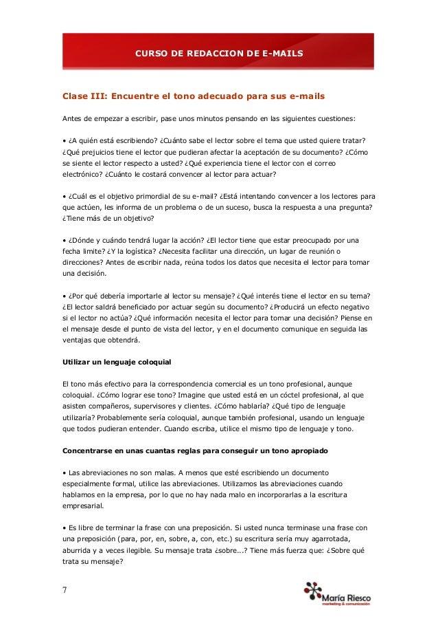 CURSO DE REDACCION DE E-MAILS
