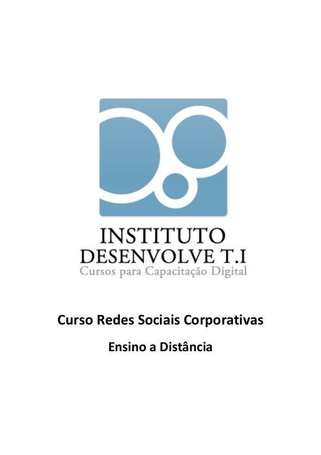 Curso Redes Sociais Corporativas       Ensino a Distância