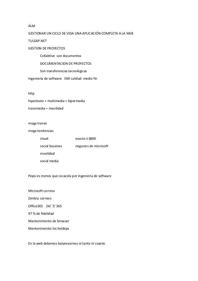 ALM GESTIONAR UN CICLO DE VIDA UNA APLICACIÓN COMPLETA A LA WEB TULEAP.NET GESTION DE PROYECTOS Collabtive son documentos ...
