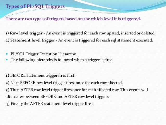 Cursors, triggers, procedures