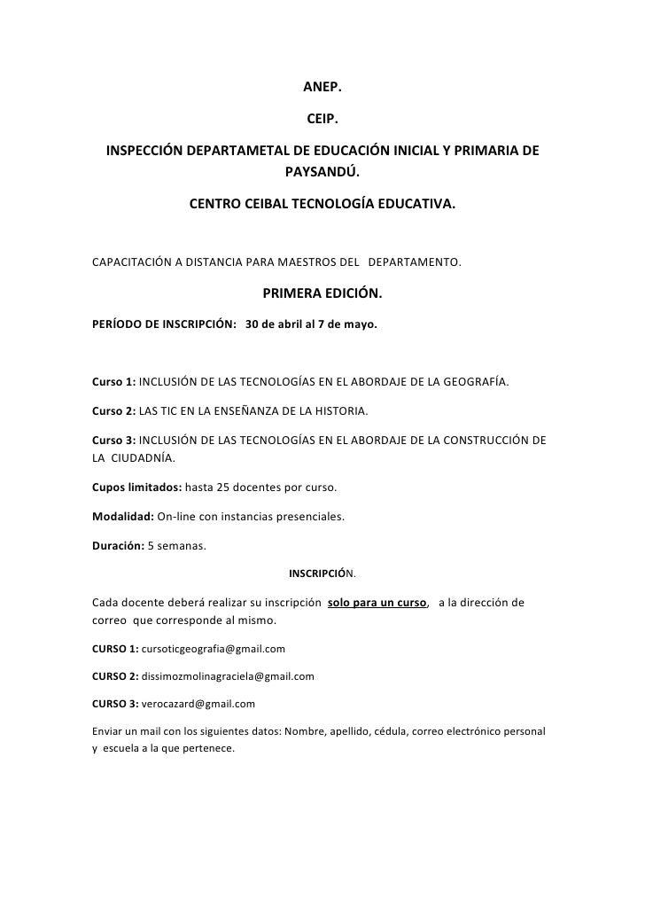 ANEP.                                            CEIP.  INSPECCIÓN DEPARTAMETAL DE EDUCACIÓN INICIAL Y PRIMARIA DE        ...