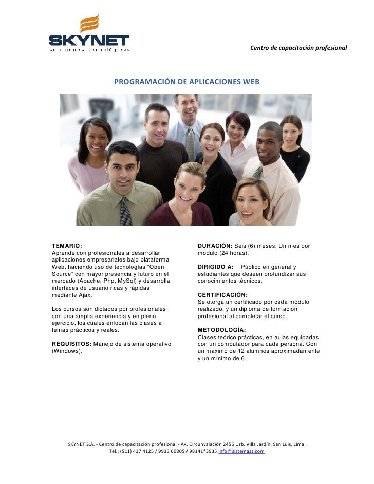 Centro de capacitación profesional                          PROGRAMACIÓN DE APLICACIONES WEBTEMARIO:                      ...