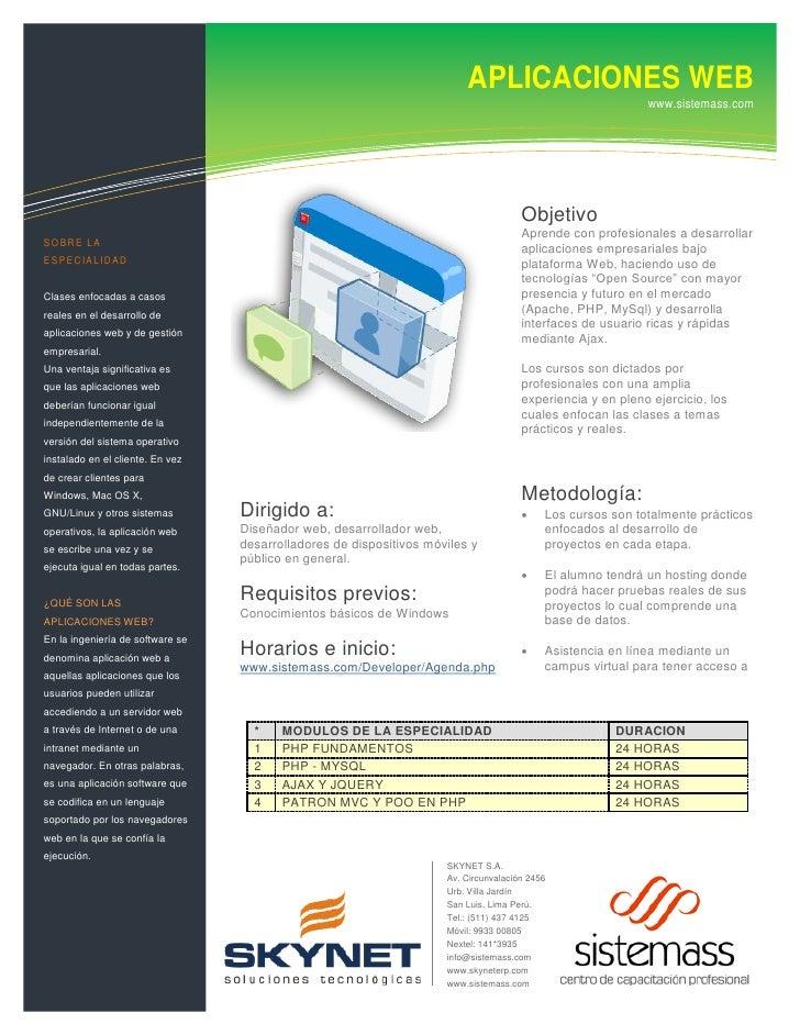 Soluciones de tecnologías de WEB                                                 APLICACIONES                             ...