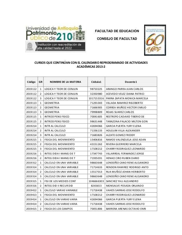 FACULTAD DE EDUCACIÓN CONSEJO DE FACULTAD  CURSOS QUE CONTINÚAN CON EL CALENDARIO REPROGRAMADO DE ACTIVIDADES ACADÉMICAS 2...