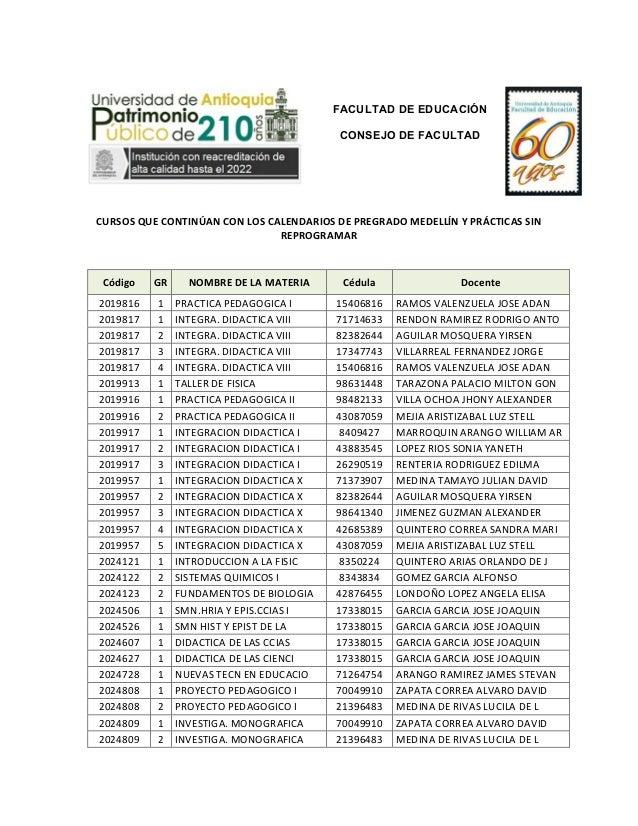 FACULTAD DE EDUCACIÓN CONSEJO DE FACULTAD              CURSOS  QUE  CONTINÚAN  CON  LOS  CALENDARIOS ...