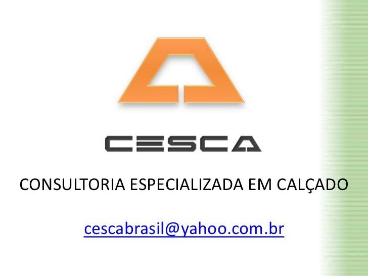 CONSULTORIA ESPECIALIZADA EM CALÇADO<br />cescabrasil@yahoo.com.br<br />
