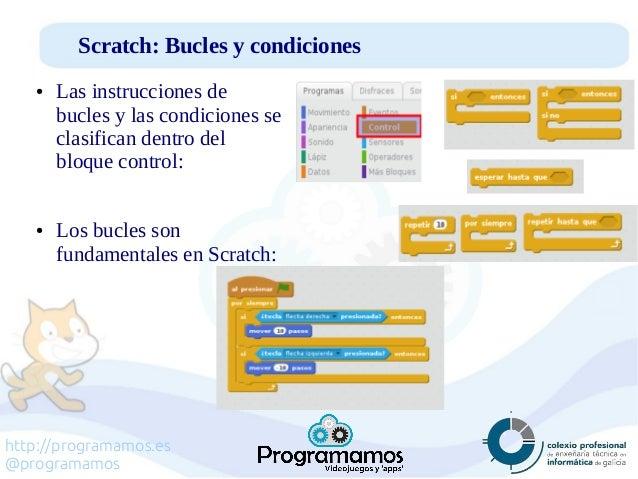 http://programamos.es @programamos Scratch: Bucles y condiciones ● Las instrucciones de bucles y las condiciones se clasif...