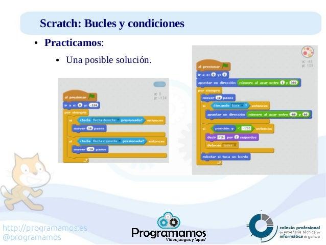 http://programamos.es @programamos Scratch: Bucles y condiciones ● Practicamos: ● Una posible solución.